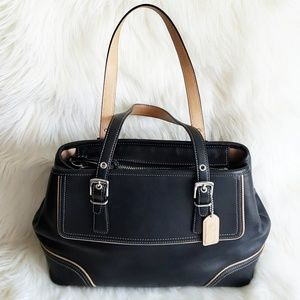 Coach Hamptons Bag Black Tan Leather Satchel 9605